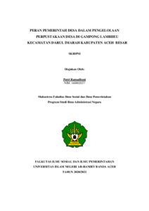 Peran Pemerintah Desa Dalam Pengelolaan Perpustakaan Desa Gampong Lambheu Kecamatan Darul Imarah Kabupaten Aceh Besar Repository Of Uin Ar Raniry