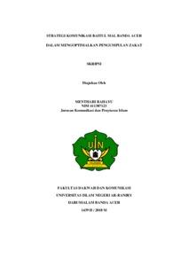 Strategi Komunikasi Baitul Mal Banda Aceh Dalam Mengoptimalkan Pengumpulan Zakat Repository Of Uin Ar Raniry
