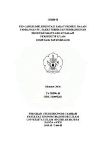 Pengaruh Implementasi Zakat Profesi Dalam Persepsi Muzakki Terhadap Pembangunan Ekonomi Masyarakat Dalam Perspektif Islam Studi Kasus Baitul Mal Aceh Repository Of Uin Ar Raniry